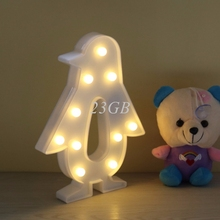 2017 NEW 3D Marquee Lamp With 10LED Battery Operated Night Light Warm-White Penguin APR29_20