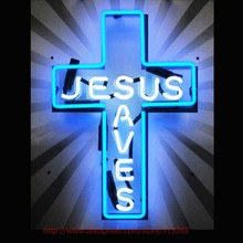 Jesus Saves Neon Bulbs Neon Sign Real Glass Tube Handcrafted Recreation Room Windows Garage Advertise LED Sign 24x20