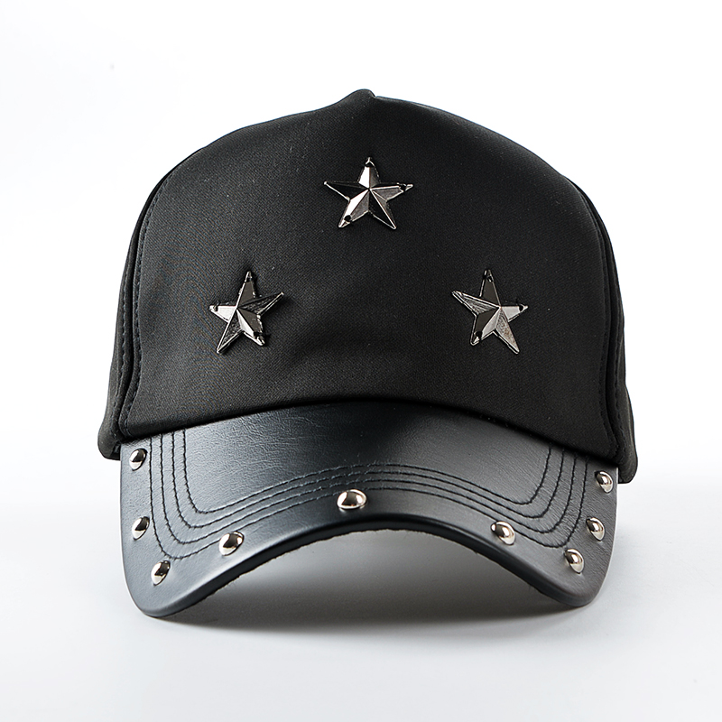 new Rivet Punk fashion PU black Baseball Cap women Hats For men spring Leather cap Trucker cap Sports snapback fall for women<br><br>Aliexpress