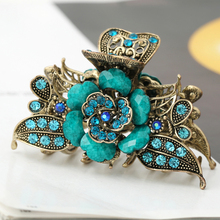 Vintage Hair Jewelry Antique Metal Flower Hair Claws Rhinestones Hair Clip For Women Girls(China)