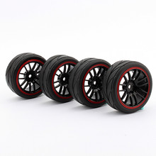 Oversea New 4PCS Rubber RC Racing Tires For HSP HPI 9068-6081 1/10 Racing Tires Car On Road Wheel Rim Fit