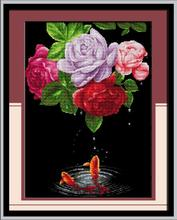 Romance go hand in hand cross stitch kit flower 18ct 14ct 11ct count printed canvas stitching embroidery DIY handmade needlework(China)