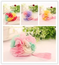 ribbon infant kids child girls head wraps springs hair elastic tiara tulle chiffon flowers for headbands hairband floral MT-37