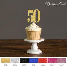 Fifty Birthday Decorations,50 Cupcake Toppers Picks, Black/Gold/Silver Glitter 50th Anniversary Party  Cake Favors Decoration