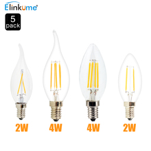5x New Design E14 AC 220V  2W  4W LED Filament Candle Bulbs 360Degree Instead of 20-40w halogen bulb Vintage pendant lamps