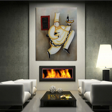 New Decorative Handmade Art Abstract Happy Cook with Wine Oil Paintings Canvas Wall Pictures for Home Decor(China)