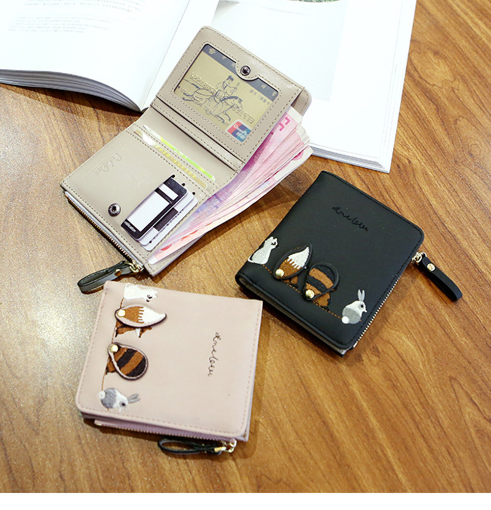 2018 Fashion Naivety Short Wallet Embroidery Fox Wallets Female PU Leather Hasp Coin Purse Zipper Clutch  drop shipping 42