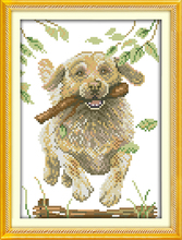Running dog cross stitch kit animal dog aida 14ct 11ct count print canvas stitches embroidery DIY handmade needlework plus