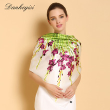 DANKEYISI 100% Silk Scarf Big Square Women Scarf Fashion Floral Printed Shawls Genuine Natural Silk Scarf Female 110*110cm(China)