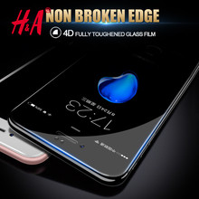 Buy 4D Full Cover Tempered Glass iPhone 7 6 7S 6S Plus Tempered glass iphone 6 6S 7 7 Plus Screen Protector 4D glass H&A for $3.49 in AliExpress store