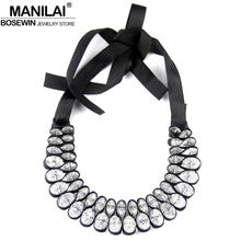 MANILAI Fashion Black Ribbon Cross Acrylics Crystal Statement Necklaces Chunky Collar Choker Necklace For Women C68001