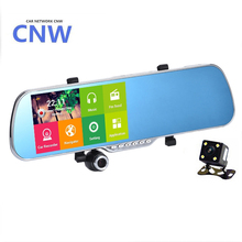 "CNW 5.0"" IPS Touch Android 4.4 FHD1080P Dash Camera Parking Car Dvrs Rearview Mirror Video Recorder Car DVR Dual Camera GPS"