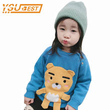 New 2018 Baby Girls Winter Thicken Sweater Boys Girls Warm Cotton Knitted Long Sleeve Sweater Baby Kids Cartoon Bear Outerwear(China)