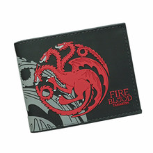 Cool Movies GAME OF THRONES Wallets Targaryen Blood and Fire Dragon Wallets For Women Men Small Wallet And Purse billeteras Wolf