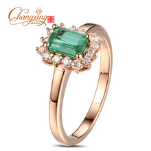 Pure 14kt Rose Gold Colombian Emerald Round Cut Diamond Engagement Ring  Hot Sale