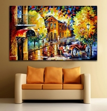 100% Hand-painted Car Under The Balcony Canvas Oil Painting Fashion Wall Art for Living Room Bedroom Decoration