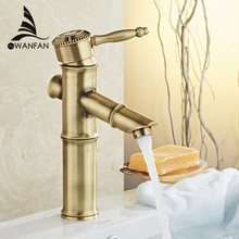Basin Faucets Bamboo Antique Bathroom Taps Sink Bath Vanity Waterfall Washbasin Deck Mounted Home Decorative WF-18008A(China)
