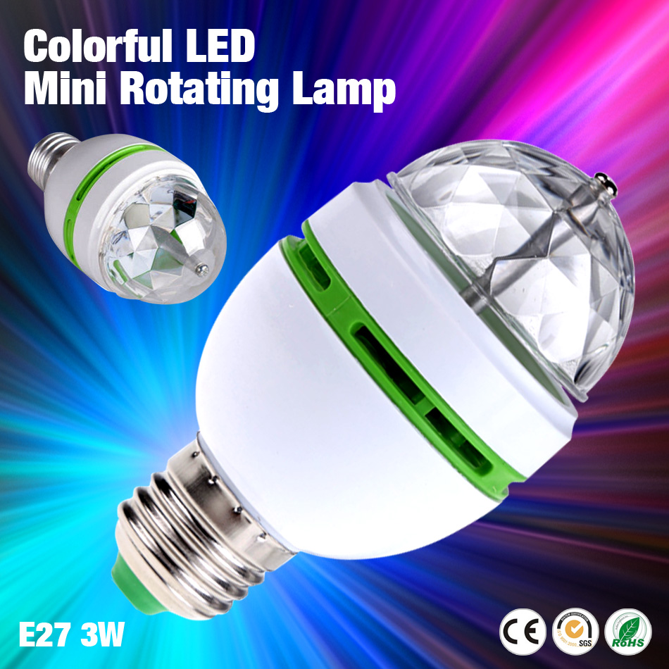 TSLEEN 2016 Hot Sale E27 Mini RGB Crystal Auto Stage Light DJ Disco Club Party Dance Lamp Bulb 3W Rotating LED Nightlight<br><br>Aliexpress