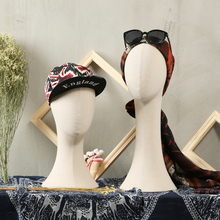 Hat display head mannequin female bandanas silk scarf display mannequin head long neck women fabric mannequin head