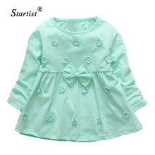 Startist Dresses For Girls Full Length Vestido Infantil Flower Embroidery Baby Girls Dress Spring Bow Baby Girl Clothes