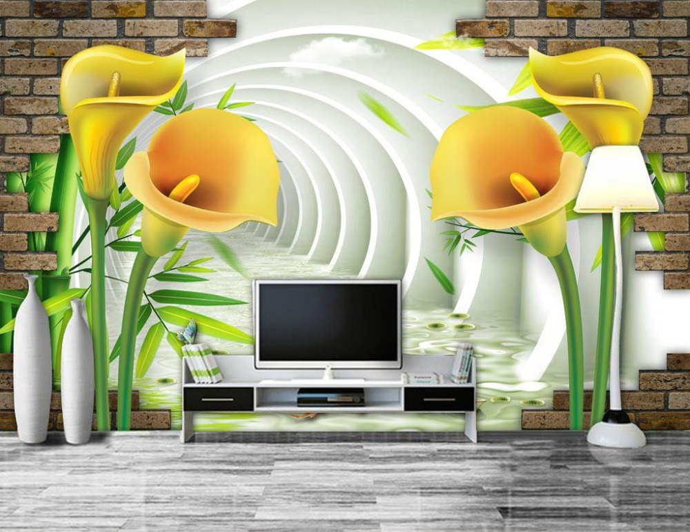 Flores 3d Stereoscopic Wallpaper Mural Living Room Sofa TV Background Seamless Wallpaper Non-woven Pintura Decorativa <br>