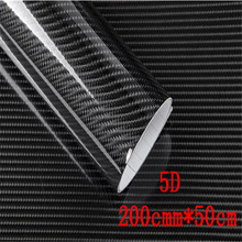 5pcs/lot DIY 50cmx200cm Car Sticker 5D High Glossy Carbon Fiber Roll Film Vinyl Wrap Decals Waterproof Decorative Stickers