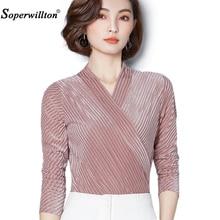 Soperwillton 2018 Spring Spring Women Blouse Long Sleeve Solid Velvet Shirts  Fashion OL Tops Female Clothing Plus Size 3XL A901 0e1e4cec2ff8