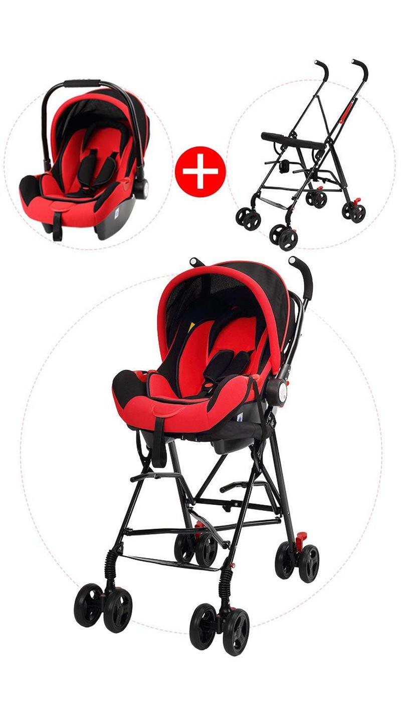 Newborn Baby Car Seat Stroller Carts Light Folding Portable With Children\'s Car Safety Seat Basket Steel Highland Baby Car Frame07