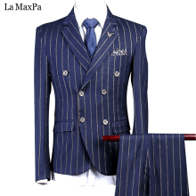 LA Maxpa (jacket+pants+vest) Brand men suit wedding suit man spring autumn blue stripes casual slim fit prom party dress suit(China)