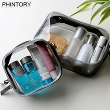 PHINTORY Environmental Protection PVC Transparent Cosmetic Bag Women Travel Make up Toiletry Bags Makeup Handbag Organizer Case