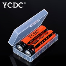 YCDC 2Pcs/lot 3.7V 18650 Rechargeable Li-ion Battery 3000mAh for Led Torch Flashlight Toys Camera Bateria + free battery box