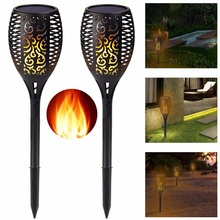 2 Pack-Solar Tiki Torch Lights LED Garden Waterproof Outdoor Courtyard Lamp Dancing Flame Flickering 96 LEDs Decorative Lights(China)