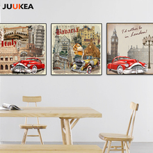 Nostalgic Retro Classic Car Movie City Canvas Art Print Painting Poster, London Paris Wall Pictures For Living Room, Home Decor(China)