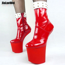New  Special Platform Hoof Heels Mid-Calf boots Decoration Comfortable heelless dance platform boots Match Color Block