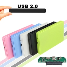 Lowest Price Slim and Portable USB 2.0 Enclosure External Hard Case for SATA 2.5 Hard Disk Drives HDD desktop laptop Colorful(China)