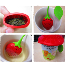 ASLT lovely Reuseable Foof safe Silicone Red Strawberry Shape Tea Leaf Bag Holder Tea Coffee Punch Filter Tea Infuser