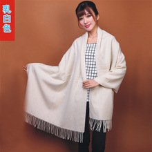 Chinese Women's Fashion 100% Wool Pashmina Scarf Cashmere Shawl Tassels Wrap Solid Color Free Shipping White