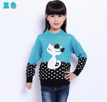 2016 new autumn and winter 3~17Y hello kitty girls sweater long sleeve wool sweater children cartoon clothing baby girl clothes