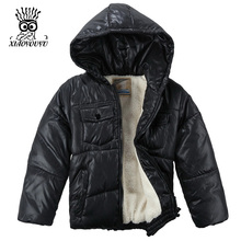 XIAOYOUYU Size 100-120 Little Boy Winter Jacket With Cotton-Padded Hooded Collar Kids Coat Top Quality Thicken Children Outwear(China)