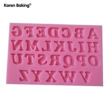 26 English Letters Shape Fondant 3D Molds, Silicone Mold ,Candle Moulds, Sugar Craft Tools, Chocolate Moulds, Bake Ware(China)