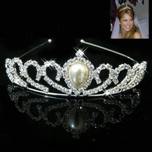 Luxury Crystal Rhinestone Pearl Headband Silver Wedding Party Tiaras Hair band Bridal Hair Accessories Flower Girls Hairpin