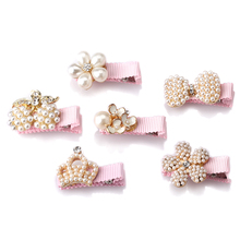 M MISM New 1lot=6pcs Girls Hair Clips Hair Pin Children Hair Accessories Protect Well Wrapped Bow Pearls Crown Princess Hairpins