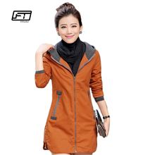 2017 New autunm and winter women trench coat slim fashion plus size 5XL medium-long windbreaker patchwork OL hooded outwear