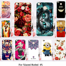 AKABEILA Phone Cover Case For Xiaomi Redmi 4X 5.0 inch Case Hard Plastic Soft TPU Cat Flower Cover Housing Hood(China)