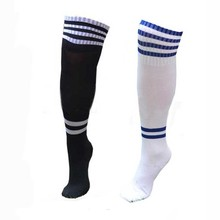 Unisex Kids Soccer Sports Socks Teens Boys Knee High Football Socks Long Striped Rugby Tube Socks Black White Red Yellow 2 Pairs