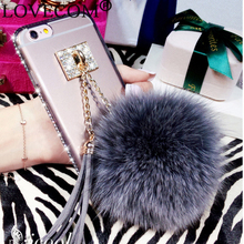"New For iPhone 6 6S 4.7"" 6 Plus 6S Plus 5.5"" Crystal Phone Cases  Luxury Fur Ball & Tassel Charm Phone Back Cover Coque YC5112"