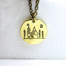 hzew Lovely Fashion mountain necklace nature pendant necklace Moon forest mountain house necklaces Lover Gift Live the simple