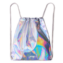 Shiny Silver Soft Women Bucket Bag Laser Shoulder Bags For Women Gilrs Summer bag Colorful Face Simple Large size Organizer Bag