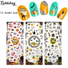Rolabling AB1010-HOT(301-303) Halloween Style Scary Skull Beauty Printing Nail Designs Design Water Transfer Nails Art Stickers(China)