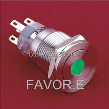 LED Stainless steel 19mm IP67 5A/250VAC 2NO 2NC dot illuminated Latching metal Push Button Switch ultra-flat